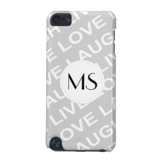 Grey White Love Text Pattern iPod Touch (5th Generation) Cases