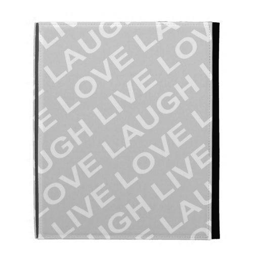 Grey White Love Text Pattern iPad Case
