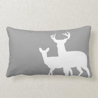 Grey White Male Female Deer Throw Pillows