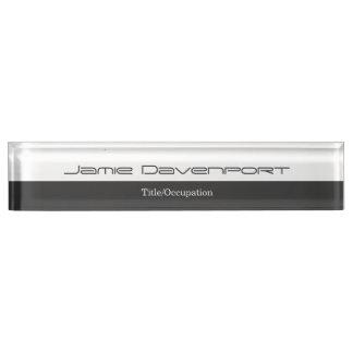 Grey White Minimal Modern Bold Name Plate