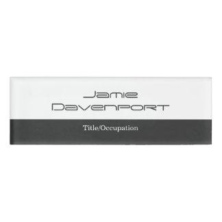 Grey White Minimal Modern Bold Name Tag