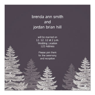 Grey White Modern Winter Wedding Invitation Cards