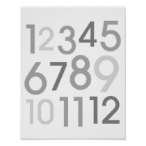 Grey & White Number Nursery Wall Art Print