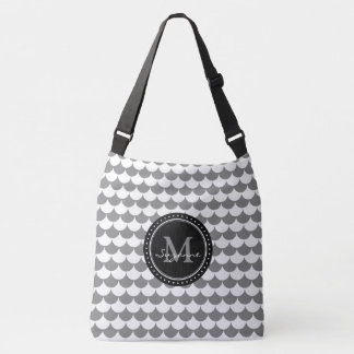 Grey White Pattern Scales | Personalizable Crossbody Bag