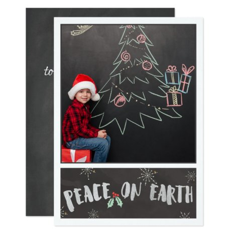 Grey & White/Peace on Earth/ Photo Christmas Card