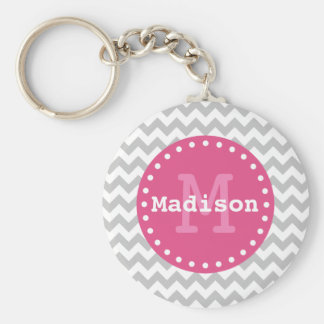 Grey White Pink Chevron Zigzag Monogram Keychain
