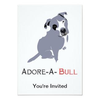Grey & White Pittie Puppy  Adore-a-Bull 5x7 Paper Invitation Card