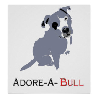Grey & White Pittie Puppy  Adore-a-Bull Poster