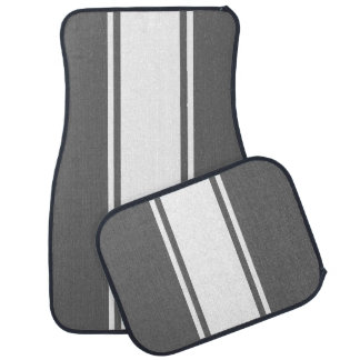 Grey & White Racer Stripe Car Mats