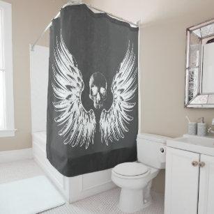 Grey White Rock Angel Wings Skull Shower Curtain