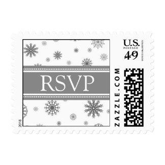 Grey White RSVP Winter Wedding Stamps