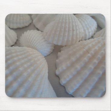 Beach Themed Grey White, Seashells, Sea Shell Summer Beach Love Mouse Pad