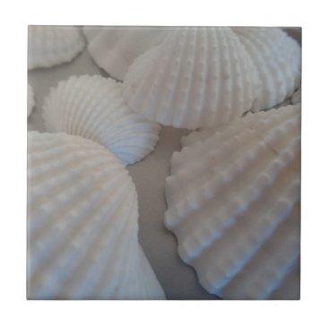 Beach Themed Grey White, Seashells, Sea Shell Summer Beach Love Tile