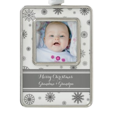 Christmas Themed Grey White Snow Grandparents Christmas Ornament