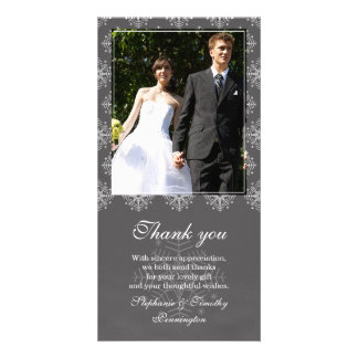 Grey + white snowflakes wedding thank you photo card