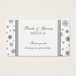 Grey White Snowflakes Winter Wedding Favor Tags