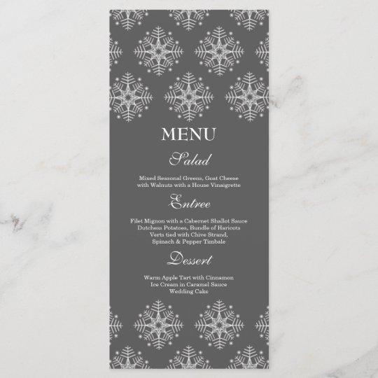 Wedding Food Menu: Grey + White Snowflakes Winter Wedding Food Menu