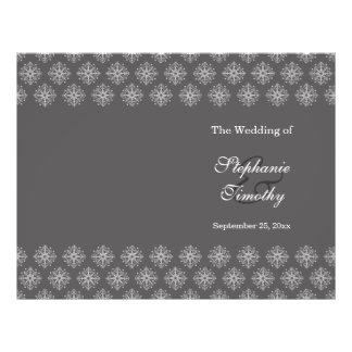 Grey + white snowflakes winter wedding program