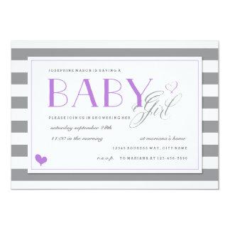 Grey & White Stripe Baby Shower + Lavender Purple Card