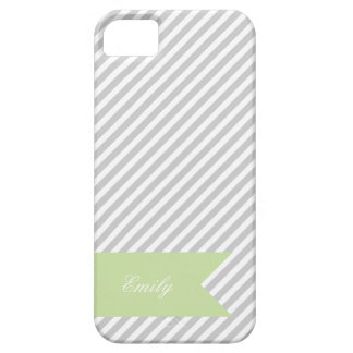 Grey & White Stripe Monogram iPhone 5 Case