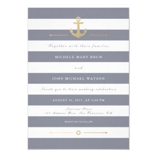 Grey White Striped Nautical Wedding Invitation