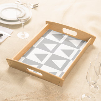 Grey&White Triangles&Checkers Design Serving Tray