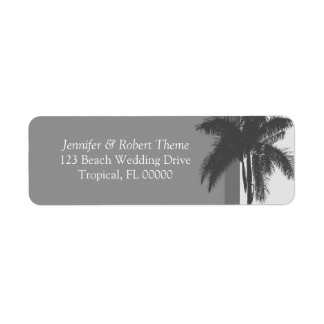 Grey White Wedding Colors Palm Tree Address Labels