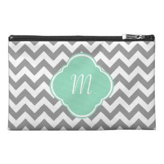 Grey White Zigzag Custom Monogram Travel Accessory Bags