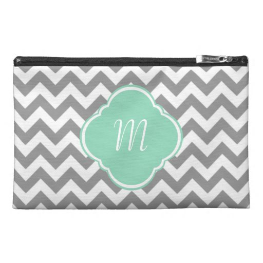 Grey & White Zigzag Custom Monogram Travel Accessory Bags