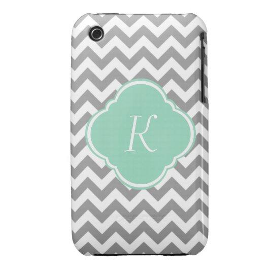 Grey & White Zigzag Custom Monogram iPhone 3 Case