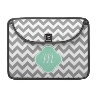 Grey & White Zigzag Custom Monogram MacBook Pro Sleeve