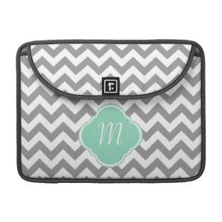 Grey & White Zigzag Custom Monogram MacBook Pro Sleeve