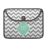 Grey & White Zigzag Custom Monogram Sleeves For MacBooks