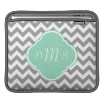 Grey & White Zigzag Custom Monogram Sleeve For iPads