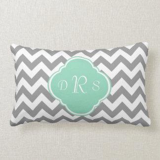Grey & White Zigzag Custom Monogram Throw Pillow
