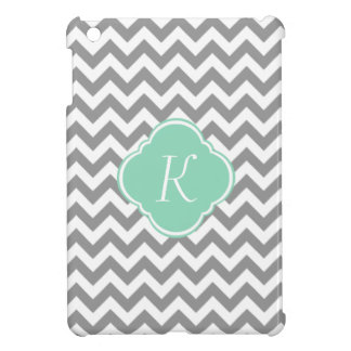 Grey & White Zigzag Stripe Custom Monogram Case For The iPad Mini