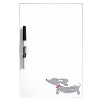 Grey Wiener Dog Dry Erase Board