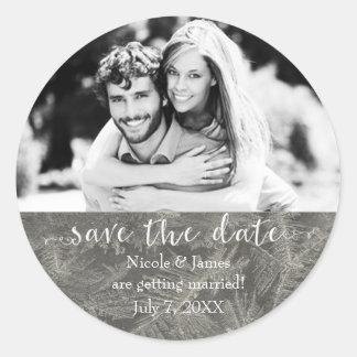 Grey Winter Ice SAVE THE DATE Custom Photo Classic Round Sticker
