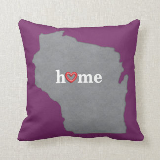 Grey WISCONSIN Home & Open Heart Throw Pillow
