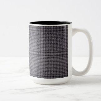 Grey-with-black-textile1011 GREY  TEXTILE PATTERN Two-Tone Coffee Mug
