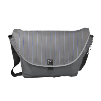 Grey with Blue Pinstripes Courier Bag