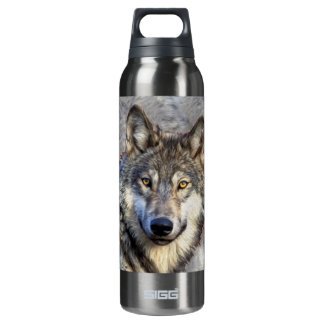 Grey Wolf 16 Oz Insulated SIGG Thermos Water Bottle