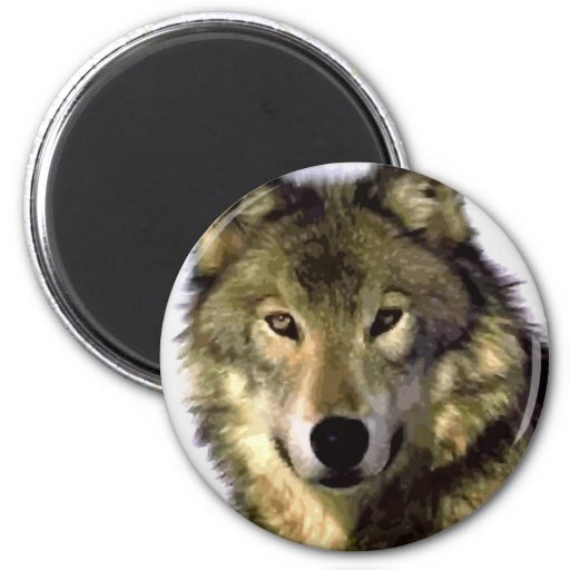 Grey Wolf 2 Inch Round Magnet
