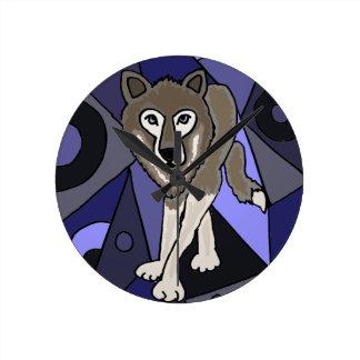 Grey Wolf Abstract Design Wall Clocks