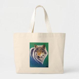 grey wolf animal portrait in pastels canvas bag