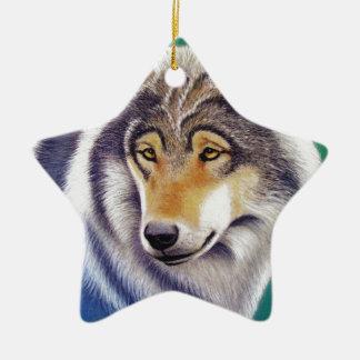 grey wolf animal portrait in pastels ceramic ornament