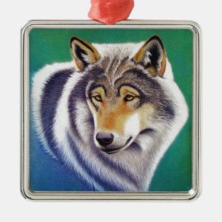 grey wolf animal portrait in pastels metal ornament