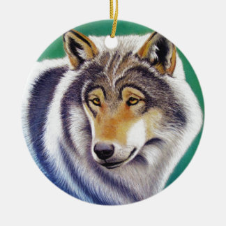 grey wolf animal portrait in pastels ornament