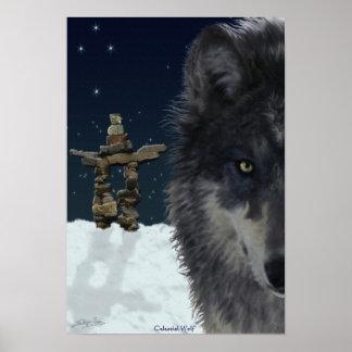 Grey Wolf, Arctic Inukshuk & Stars Art Poster