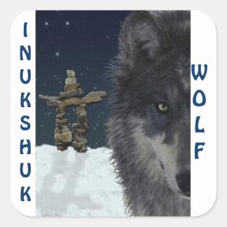 GREY WOLF & ARCTIC INUKSHUK Wildlife Supporter Art Square Sticker
